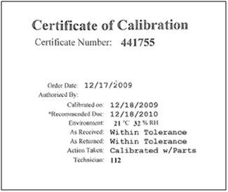 Calibration Certificate